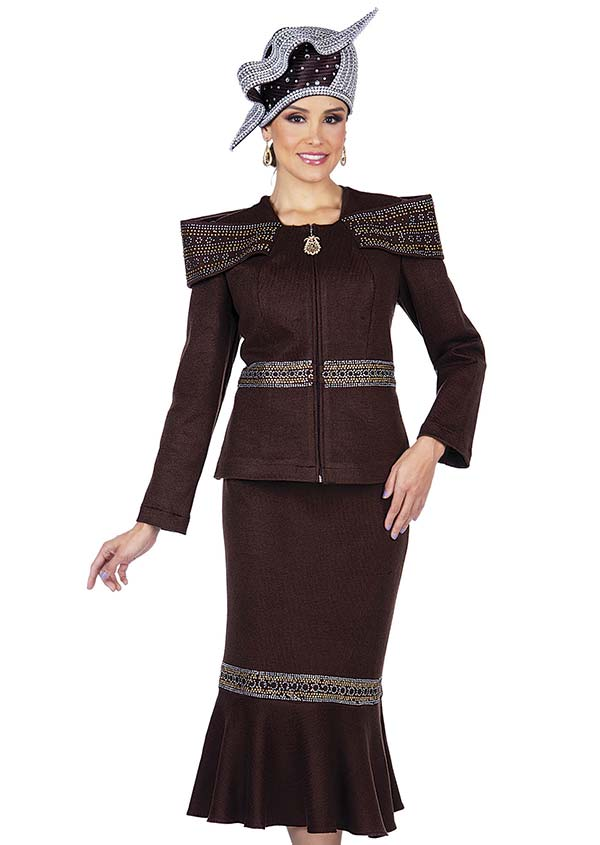 Elite Champagne 5355 Knit Fabric Off Shoulder Portrait Collar Jacket & Flounce Skirt Suit
