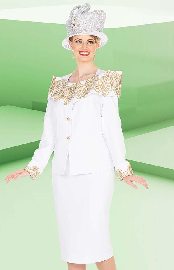 Elite Champagne 5270 Jacket & Skirt Suit With Off Shoulder & Cuff Trim Design