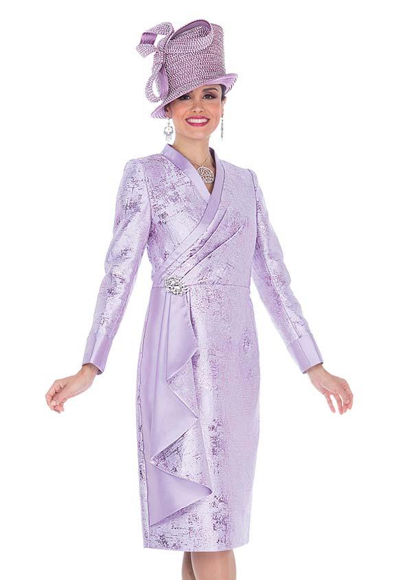 Elite Champagne 5311 Ruffle Wrap Look Church Dress In Exclusive Metallic Brocade Fabric