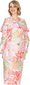 Elite Champagne 5411 Novelty Floral Brocade Fabric Skirt Suit With Cape