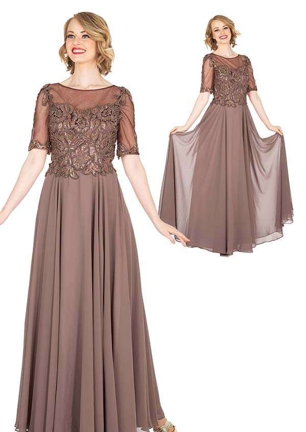 Elite Champagne 5413 Beaded Crepe Chiffon Fabric Evening Dress