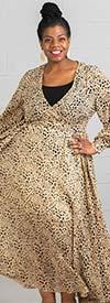 Colors of India D001-Animal Print - Womens Long Sleeve Chiffon Maxi Dress