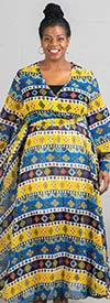 Colors of India D001-YellowRoyal Print - Womens Long Sleeve Chiffon Maxi Dress