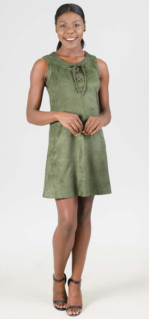 Cupio CU23565 - Womens Faux Suede Dress With Laced Neckline