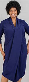 Dubgee by Whoopi 3029-Navy - Three Quarter Sleeve Ladies Shawl Collar Overlap Dress