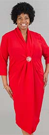 Dubgee by Whoopi 3029-Ruby - Three Quarter Sleeve Ladies Shawl Collar Overlap Dress