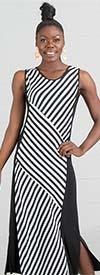 Fantazia 3657 - Ladies Knit Maxi Dress In Striped Print Design