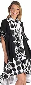 For Her 81626 Womens Flounce Cuff Sleeve Polka-Dot Print Dress
