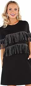 For Her 81642 Womens Short Sleeve Black Dress With Embellished Fringe Design