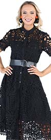For Her 81713 Ladies Midi Dress In Lace Design With Button Front