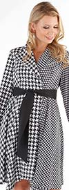 For Her 81715 Long Sleeve Houndstooth Print Dress With Sash