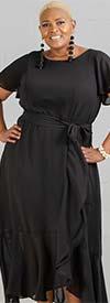 Gabby Skye 57491LGW - Ruffle Hem Chiffon Dress With Sash