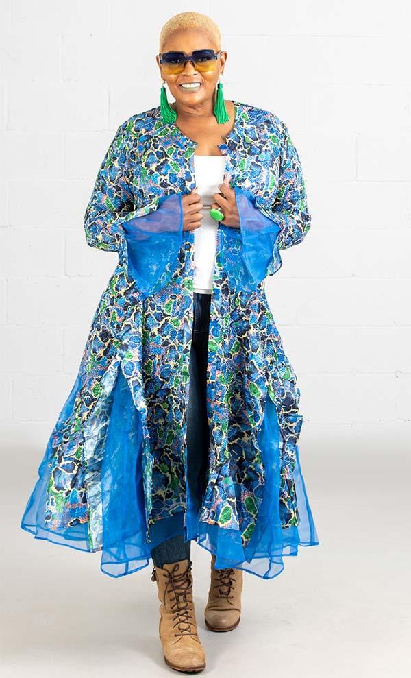 JerryT-SR113-Flower - Womens Long Sleeve Sheer Ruffle Hem Duster Dress