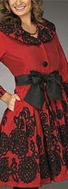 JerryT-SR1277-RedBlack - Womens Floral Ribbon Trim Dress With Bow