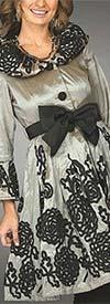 JerryT-SR1277-SilverBlack - Womens Floral Ribbon Trim Dress With Bow
