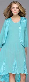 JerryT-SR7047-Turquoise - Sleevless Hi-Lo Dress With Three Quarter Sleeve Jacket