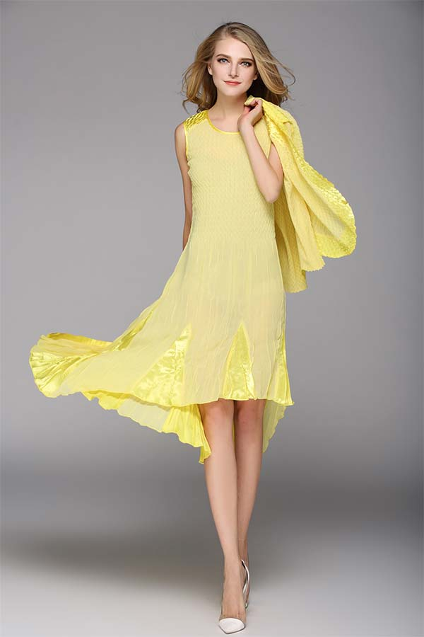 JerryT-SR7047-Yellow - Sleevless Hi-Lo Dress With Three Quarter Sleeve Jacket