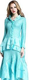 JerryT-SR7151-Aqua - Long Sleeve 2 Pc Top and Skirt Set With Ruffle Trim & Handkerchief Hemline
