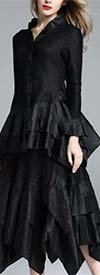 JerryT-SR7151-Black - Long Sleeve 2 Pc Top and Skirt Set With Ruffle Trim & Handkerchief Hemline