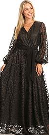 KarenT-5092 - Sheer Bishop Sleeve Womens Mock Wrap Maxi Dress