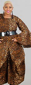 KaraChic 7561A-Leopard - Womens Bell Sleeve Animal Print Dress