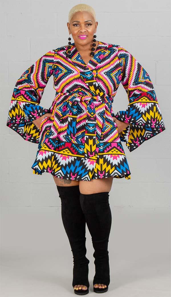 KaraChic 7562-Yellow/Pink/Blue - Womens Bell Sleeve Wrap Dress In African Style Print Design