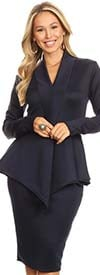 KarenT 8006-Navy - Womens Long-Sleeve V-Neck Dress With Peplum Waistline Detail