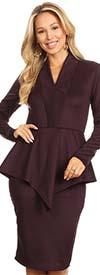 KarenT 8006-Plum - Womens Long-Sleeve V-Neck Dress With Peplum Waistline Detail