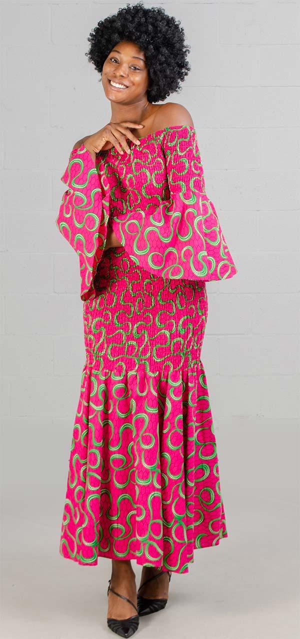 KaraChic 9008NP-PinkGreen - Smocked Drop Waist Dress In African Print Style Colors