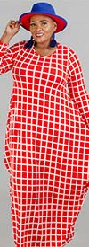 KaraChic CHH19010-RedWhite - Grid Print Knit Maxi (Long) Dress