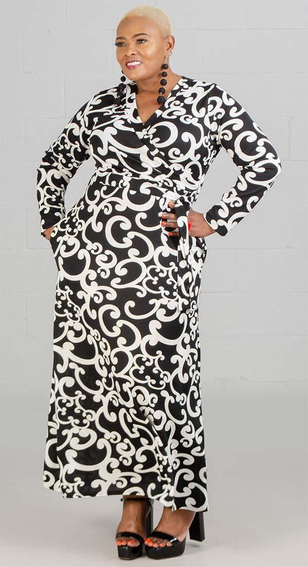 KaraChic CHH20017 - Print Design Womens Knit Maxi Dress With Surplice Neckline