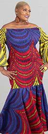 KaraChic 9008NP-BlueRedYellow - Smocked Drop Waist Dress In African Print Style Colors