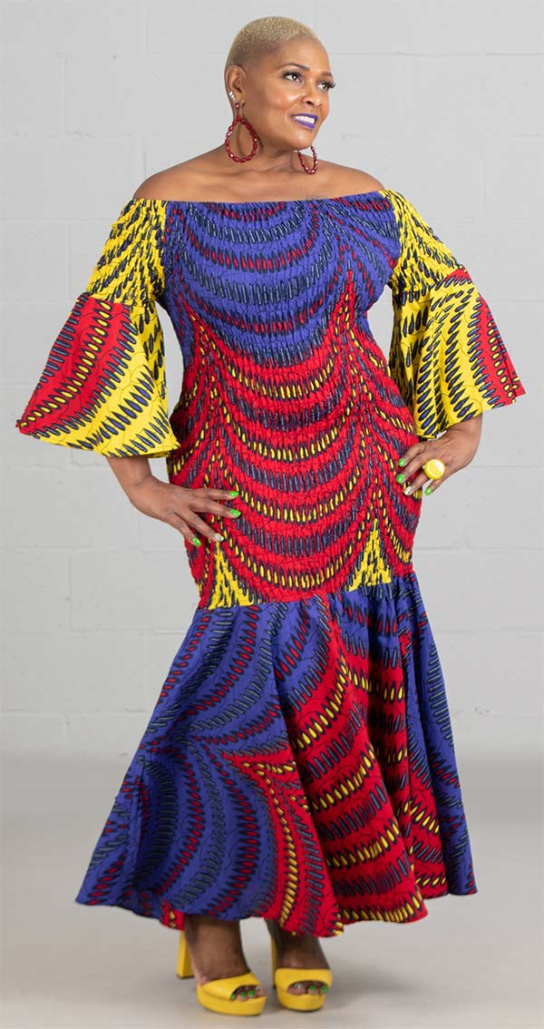 KaraChic 9008NP-BlueRedYellow - Smocked Drop Waist Dress In African Print Style Colors