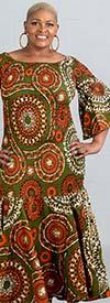 KaraChic 9008NP-OliveGreen/Orange - Smocked Drop Waist Dress In African Print Style Colors