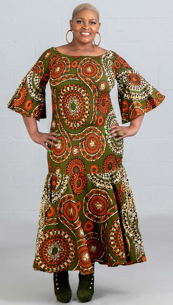 KaraChic 9008NP-OliveGreen/Orange - Smocked Drop Waist Dress In African Print Style Colors