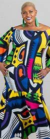 KaraChic 9008NP-BlueMulti - Smocked Drop Waist Dress In African Print Style Colors