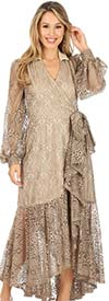 KarenT-9008S-Beige - Ruffled Lace High-Low Wrap Dress With Bishop Sleeves And Stand-Up Collar