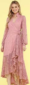 KarenT-9008S-Pink - Ruffled Lace High-Low Wrap Dress With Bishop Sleeves And Stand-Up Collar
