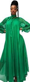 N By Nancy C11245-Green - Womens Gathered Neckline Dress With Sash