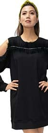 N By Nancy X7241 - Womens Ruffled Cold Shoulder Sleeve Dress