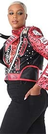 For Her 81690-Red/Black - Stud Embellished Ladies Faux Leather Jacket