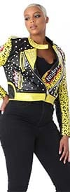 For Her 81690-Yellow/Black - Stud Embellished Ladies Faux Leather Jacket