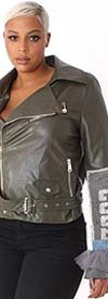 For Her 81827 Mixed Media Design Womens Faux Leather Jacket