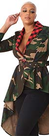 For Her 81851 High-Low Design Womens Camouflage Belted Jacket