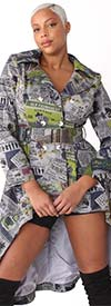 For Her 81853 - Womens High-Low Jacket In Newsprint Design With Belt