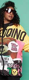 Luxe Moda LM152 - Womens Comic Print Design Knit Hoodie Fashion Jacket