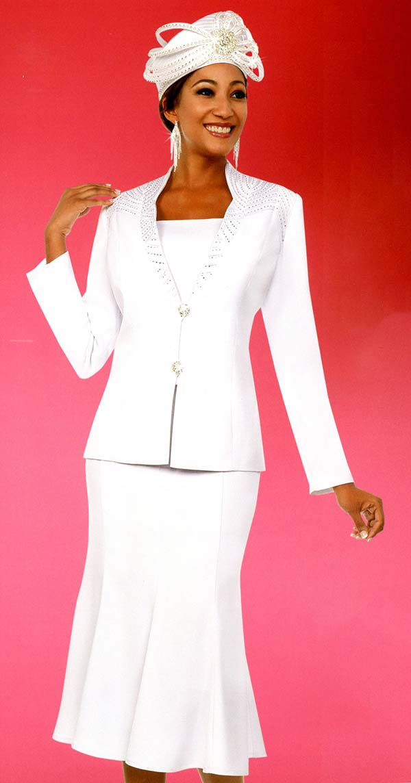 Fifth Sunday 52865-White - Embellished Pleated Skirt Suit