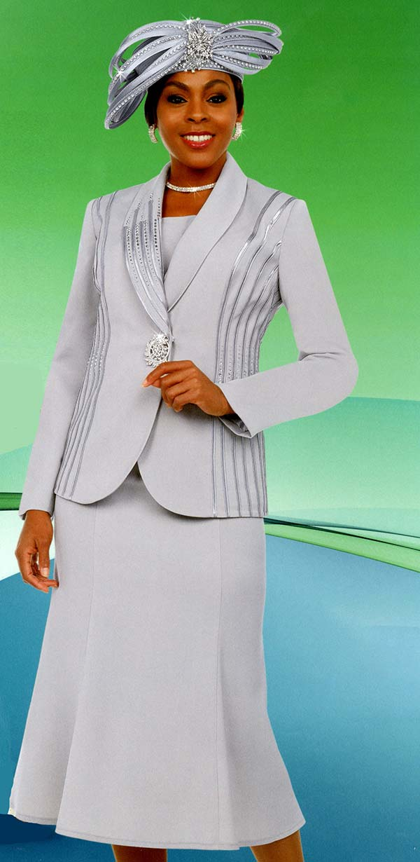 Fifth Sunday 52869-Platinum - Flared Skirt Suit With Embellished Shawl Lapel