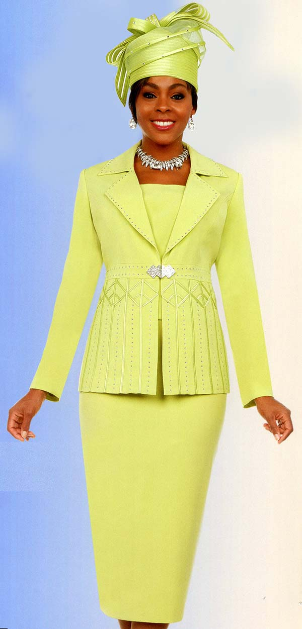 Fifth Sunday 52871-Lime - Notch Lapel Womens Church Suit