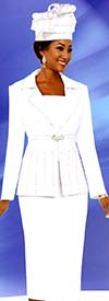 Fifth Sunday 52871-White - Notch Lapel Womens Church Suit
